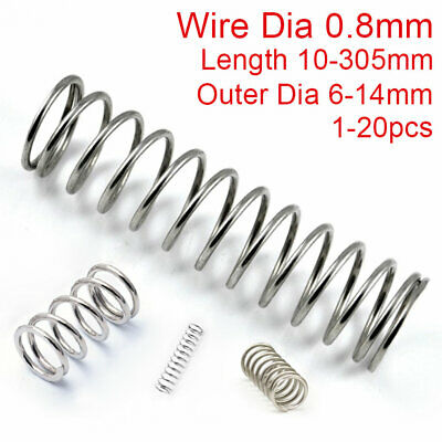 0.8mm Wire Compression Spring 304 Stainless Steel Pressure Springs All 5-305mm