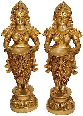 Large Size Pair Of Indian Apsara Welcome Lady With Lamp Home Office Décor 51""
