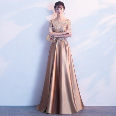 Retro Sexy Long Sequins Round Neck Evening Gowns Celebrity Dresses Womens Dress