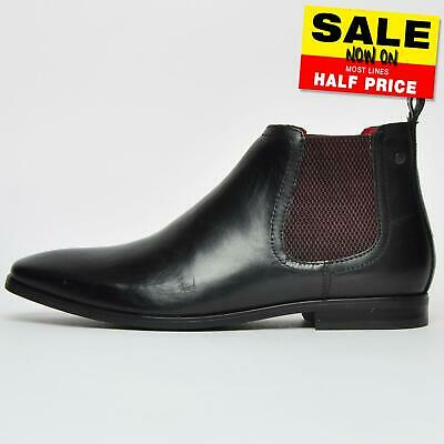 Base London William Mens Casual Chelsea Leather Ankle Boots Black