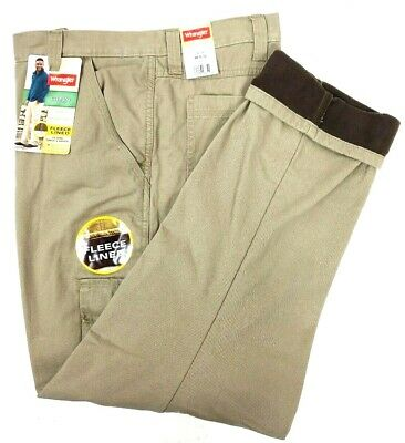e791ed87 Wrangler Fleece Lined Cargo Pants Relaxed Fit Work Fishing Hunting Mens NEW