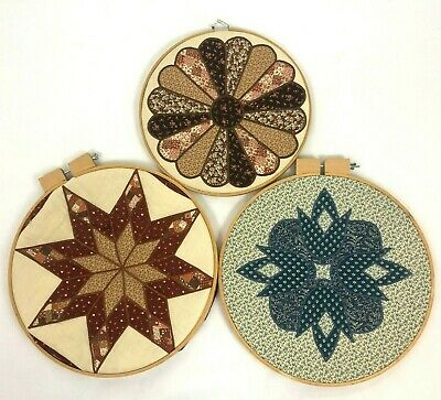 Lot of 3 Wood Embroidery Sewing Quilting Hoops Quilt Hanging Decor