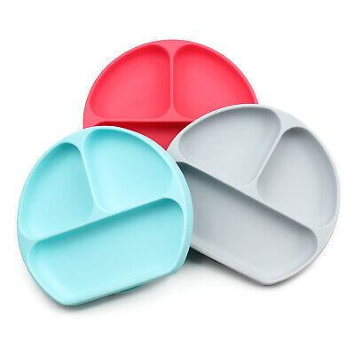 Bumkins - Baby and Toddler Grip Dish - Divided Plate - Food Grade Silicone