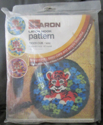 """Rare Caron Tiger Cub Latch Hook Rug Pattern Canvas Sealed In Package 40"""" Round"""