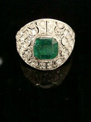 Art Deco French 18Ct Natural Emerald And Diamond Pave Ring