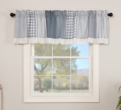 SAWYER MILL BLUE PATCHWORK Valance Window Curtain White Farmhouse VHC 19x72