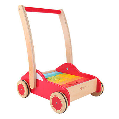 Classic World - First Steps Wooden Push Along Walker with Blocks