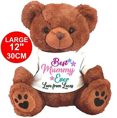 "Personalised Brown  Teddy Bear 30Cm/12"" Mother's Day Birthday"