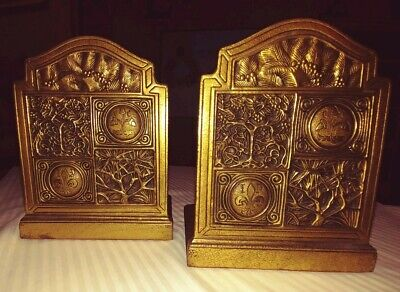 Lct Tiffany Studios, Ny Arts & Crafts Gilt Bronze Bookends 1056,Relief Trees