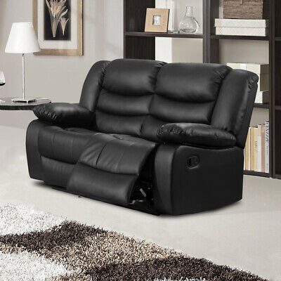 KENZO 2 Seater Black Leather Recliner Sofa CLEARANCE / BRAND NEW