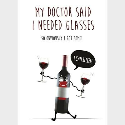 Funny Greeting Card Wine Glasses Any Occasion Birthday Humour Lover