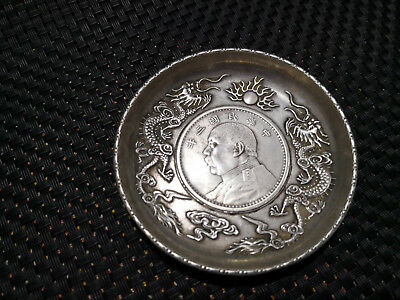 Chinese old Carved Tibetan silver copper plate dollar dragon coin coin ornament