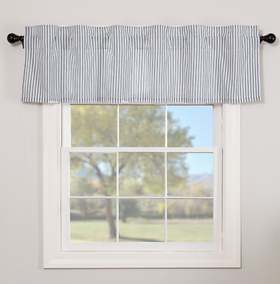 SAWYER MILL BLUE TICKING STRIPE Valance Window Curtain Farmhouse VHC 16x60