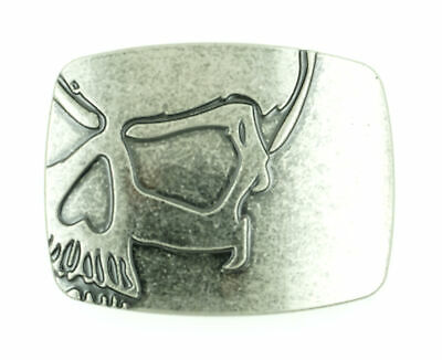 Rectangle Punisher Skull Antique Silver Metal Belt Buckle