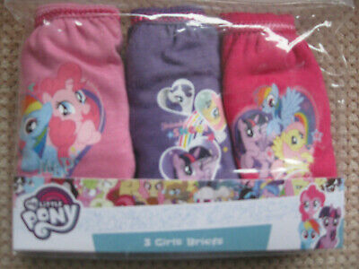 Pack of 3 Girls cotton Briefs, My Little Pony , sizes; ages, 2-3, 3-4, 4-5, 5-6