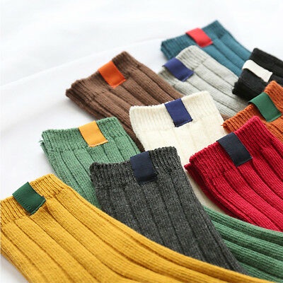 1Pair Thick Warm Women Socks Solid Color Striped Autumn Winter Cotton Tube Socks