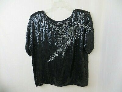 Vtg Jean For Joseph Le Bon Black Silk Sequin Top Floral Evening Blouse Womens S