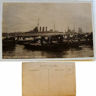 cpa Armed ship anchored at Whampoa Whampoo Chine Canton Marine navire de guerre