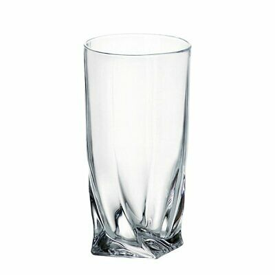 6 Quadro Deluxe Bohemian Crystal 350ml Highball Water Glasses Twisted Shaped