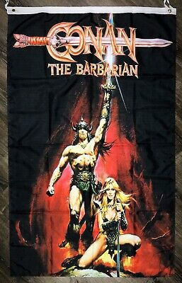 CONAN THE BARBARIAN Flag 3x5 ft Black Vertical Banner 1980 Movie Poster Man-Cave