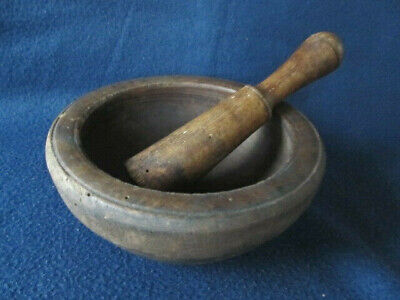 Antique Primitive Old Wooden Mortar And Pestle For Spices Pounder