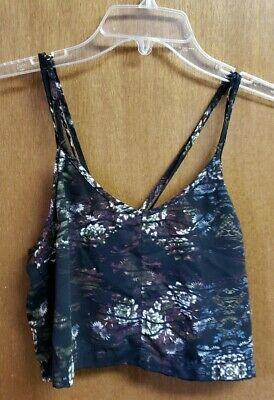 34f159f0cced2a ( 12) Silence+Noise Women s Size XS Cropped Tank Top Black Purple Floral