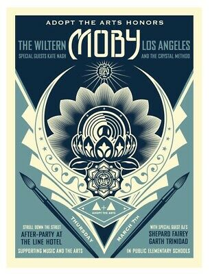 Obey Moby Shepard Fairey- Adopt The Arts Lotus Signed & Numbered Screen Print