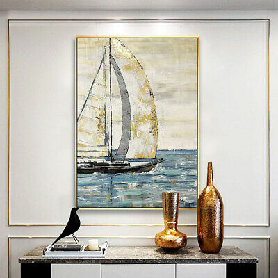 HH085 Home decor 100% Hand-painted oil painting Set sail Unframed 60x90cm