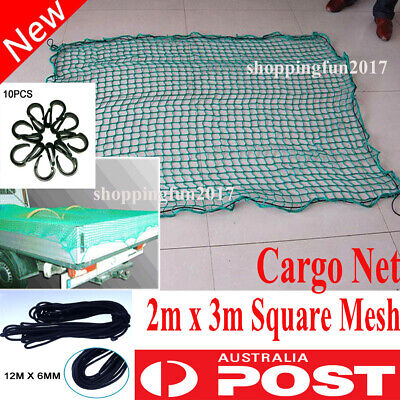 2m x 3m Cargo Net Ute Trailer Boat Nylon Bungee Cord 35mm Square Mesh with Hooks