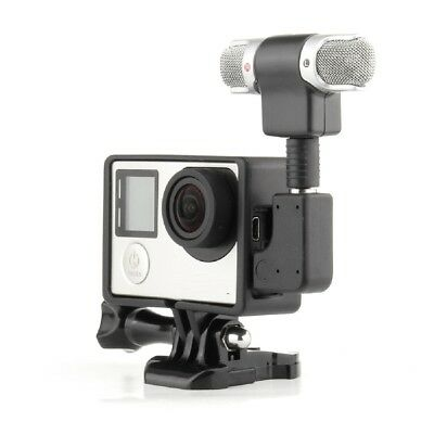 Mini USB 3.5mm Microphone + Frame + Adapter For GoPro Hero 4 3+ 3 Accessories