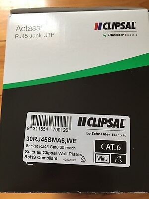 Clipsal Actassi RJ45 Jack UTP Socket Cat6 DATA Outlets (Box Of 20) Brand New