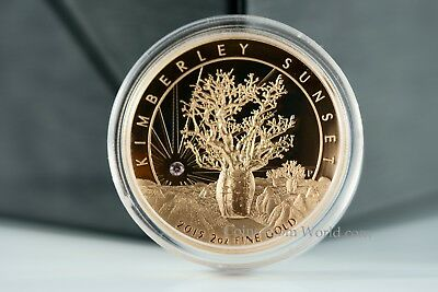 Australia 2015 500$ Kimberley Sunset With Pink Diamond 2oz Pink Gold Proof Coin