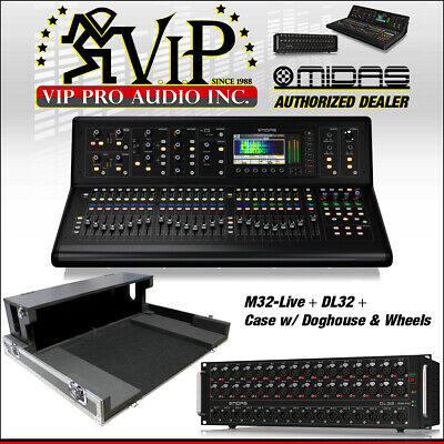 Midas M32 LIVE Digital Console + DL32 Preamp.+ XS-MIDM32DHW Case w/ Dog House