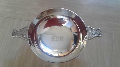 vintage silver metal quaich Jamieson and Carry Scotland with initials KBR