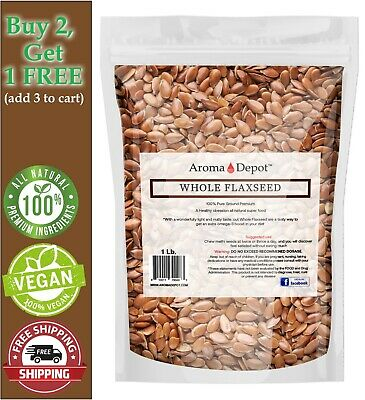 1 lb. Brown Whole Flax Seeds Organic Omega-3 Non-GMO Linaza Raw Flaxseed Kosher
