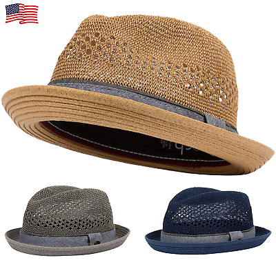 Porkpie Pork Pie Fedora Hat Trilby Cuban Cap Paper Straw Up Short Brim Fashion