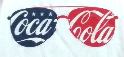 70bb4513dd250 Coca Cola Mens Large White Sunglasses Patriotic Sleeveless Tank Top Shirt