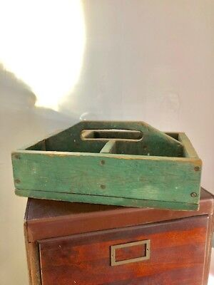 Antique WOOD FOLK ART TOTE CARRIER old GREE PAINT primitive Worn hand Made EARLY