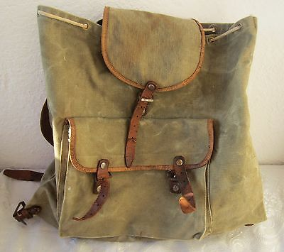 Vintage communist Army Green Canvas Leather Straps Military Backpack Camping Bag