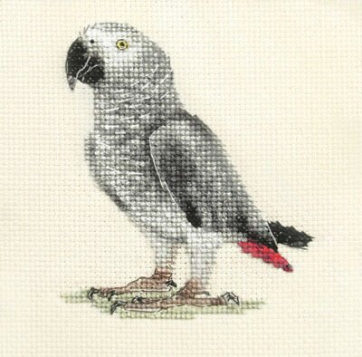AFRICAN GREY PARROT, Bird, Full counted cross stitch kit with all materials