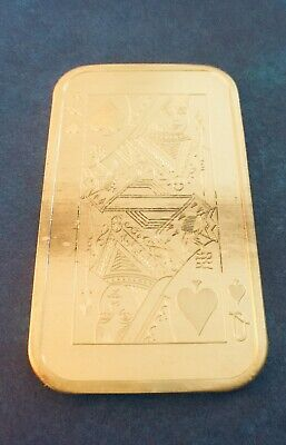 Vintage QUEEN OF SPADES 1 oz Pure Silver Art Bar by MADISON MINT