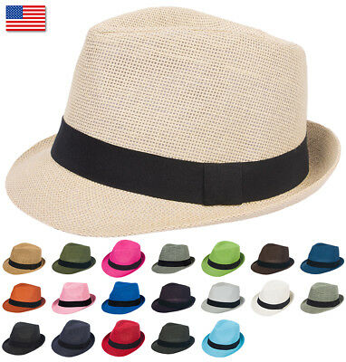 Mens Womens Summer Plain Light Paper Straw Fedora Trilby Hat Hats Gangster Black