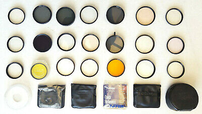 Mixed Lot Of 21 Vintage Camera Lens Filters Film & Accessories-Filter Cases