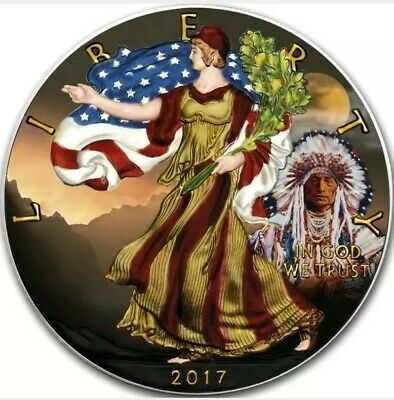2017 1 Oz Silver $1 INDIAN AMERICAN EAGLE AT SUNSET Coin.