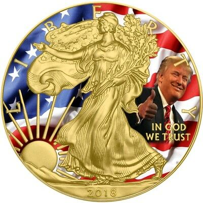 2018 1 Oz $1 DONALD TRUMP US FLAG EAGLE Coin WITH 24K GOLD GILDED.