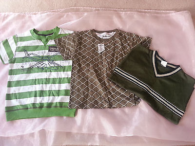 2 X Size 5  &  Size 7 Boys Short Sleeve Green Tops Bnwt