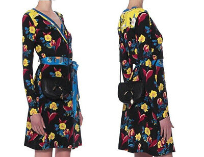 DVF Diane von Furstenberg Black Floral Patterned Silk Wrap Dress sz 6, 8  $468