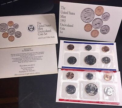 1992 United States Mint P&D Uncirculated 12pc Coin Set with original packaging