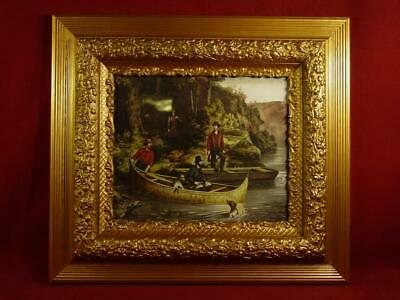 Antique Vintage Ornate Gold Gesso Picture Frame 18X20 With Currier & Ives Print