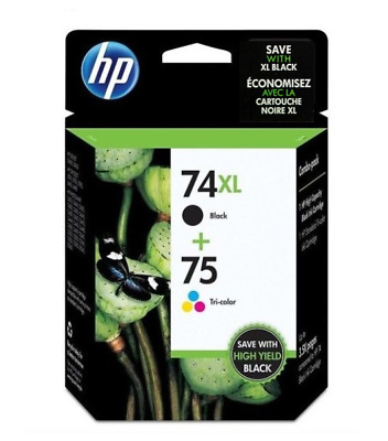 HP 74XL/75 Combo Pack High Capacity Black and Tricolor Ink Cartridges Brand NEW